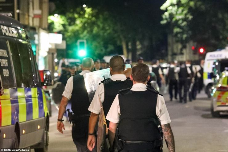 Riot vans were also seen in the area as a number of roads were closed