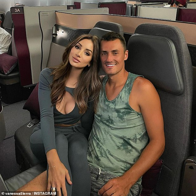 In happier in times: Vanessa Sierra (left) has sparked further speculation her tumultuous relationship with tennis bad boy Bernard Tomic (right) could be on the rocks