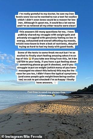Open: Mia spoke openly about her health battle on Instagram Stories