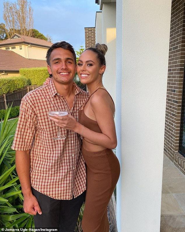 Love life: Mia is dating rising AFL star Jamarra Ugle-Hagan (left), following her split from Richmond premiership player Daniel Rioli in February last year