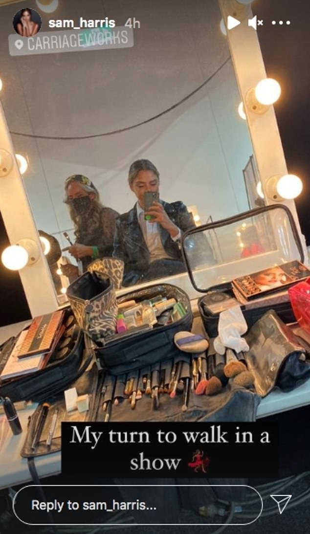 All made up: After attending Australian Fashion Week as a guest, Samantha shared a photo of herself backstage on Instagram Stories on Thursday