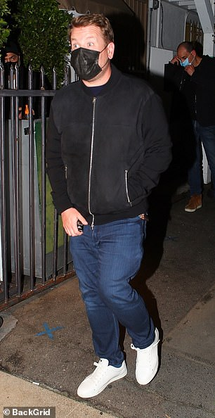 Date night: James Corden cut a casual figure as he enjoyed a romantic dinner at on Wednesday