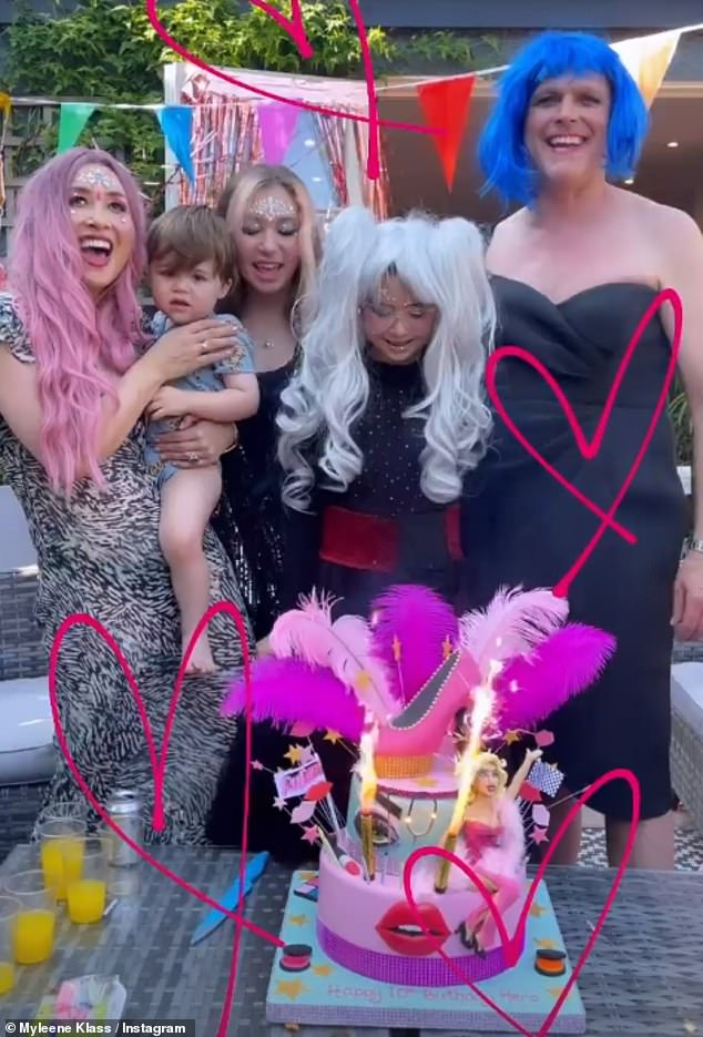 Vibrant: On Sunday the radio presenter celebrated her daughter's birthday with a vibrant and colourful celebration