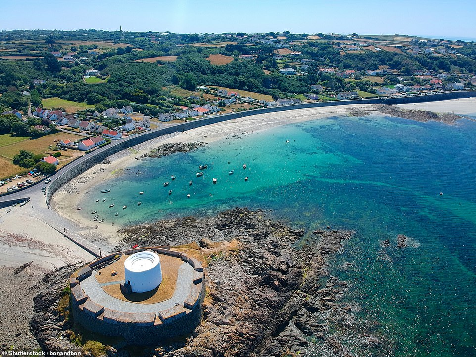 An aerial view of Fort Grey, built in 1804 to defend the west coast of Guernsey. Next door is an enticing beach with white sand and turquoise waters