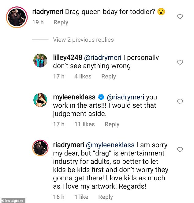 Really? One troll was quick to comment on Myleene's post, claiming drag 'was for adults' and she should 'let kids be kids'