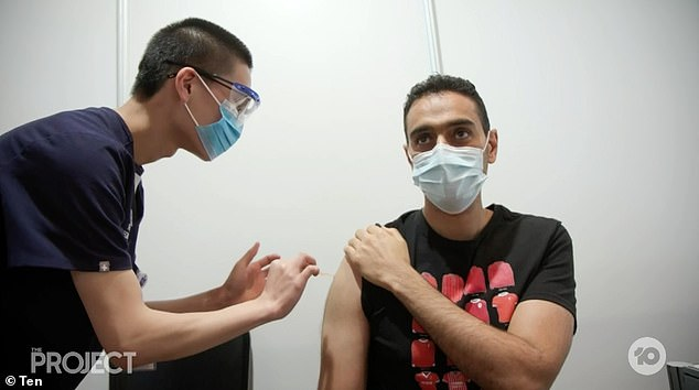 Getting the jab: The show's panelists were talking about their co-host, Waleed Aly, getting his coronavirus vaccine, with the 42-year-old claiming he felt no pain