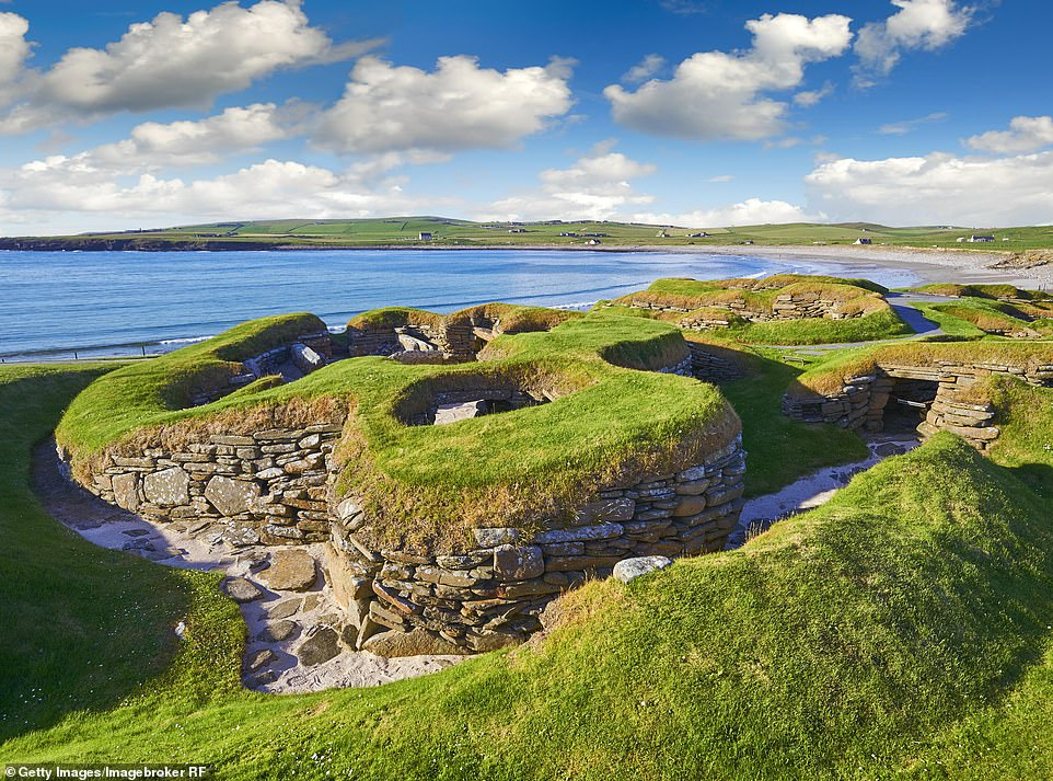 Orkney has been named the best Scottish island in a survey by Which? with a customer experience score of 88 per cent. Pictured is the island's Neolithic settlement of Skara Brae
