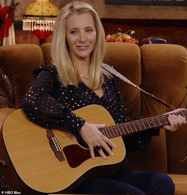 Looking back:Lisa Kudrow just put fans on alert to watch out for a blink-and-miss-it tender moment on the new Friends reunion; she is pictured on the special