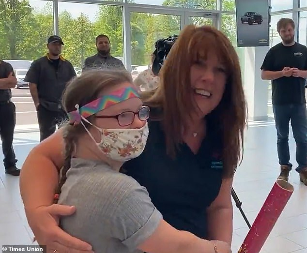 Celebration: Gymnast Izzy Brinkerhoff, 14, from Clifton Park, New York, was surprised with the news that she will be competing at the Special Olympics USA Games in 2022
