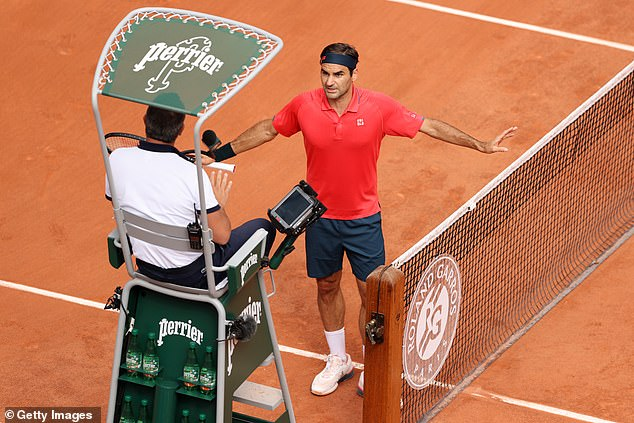The 39-year-old lost his cool and had a heated exchange with the umpire over a time violation