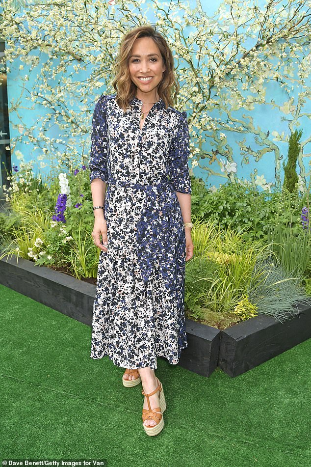 Pretty:Myleene Klass cut a stylish figure as she attended the opening of a Van Gogh exhibition on Thursday after it was revealed she's set to to add to her millions setting up food manufacturing business