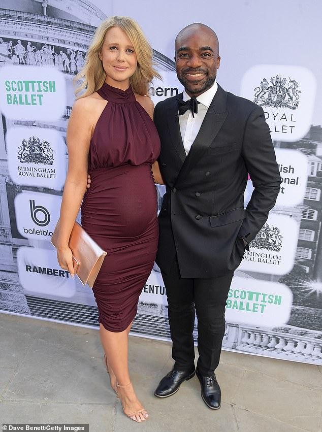 Cute:While Strictly 2016 winner Ore, 35, looked handsome in a black tuxedo as he sweetly posed for photos with his pregnant wife Portia. The couple are already parents to son Roman, three