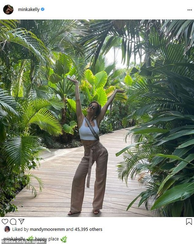 'Happy place': The Parenthood actress shared a cheerful Instagram from an undisclosed tropical locale last Thursday, saying she was in her 'happy place' while on a path surrounded by palms