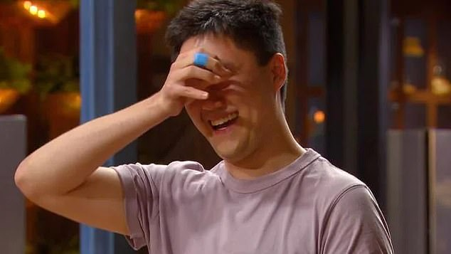 Full of emotion: Contestant Eric (pictured) also responded with visible emotion, joining Mel in wiping away tears.
