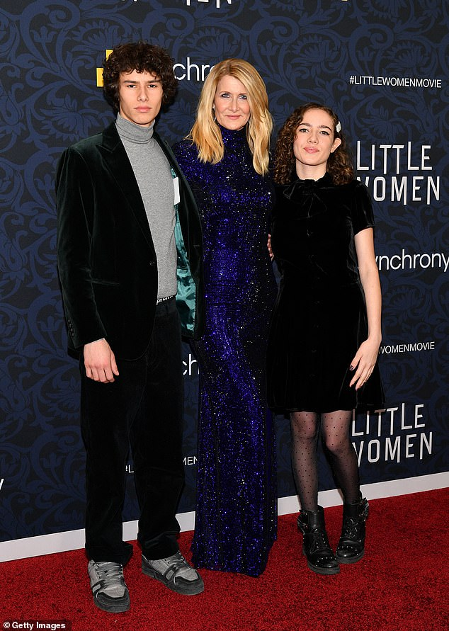 Motherhood:The Jurassic Park actress is mother to 19-year-old son Ellery and 16-year-old daughter Jaya; Ellery, Laura, and Jaya pictured in 2019