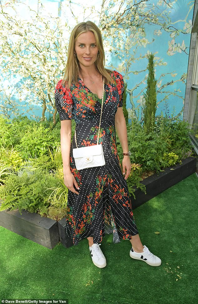 Gorgeous:Pregnant Frida Andersson, 37, looked radiant on Thursday when she wore a pretty patterned dress to the opening of Kensington Garden's immersive Van Gogh exhibition