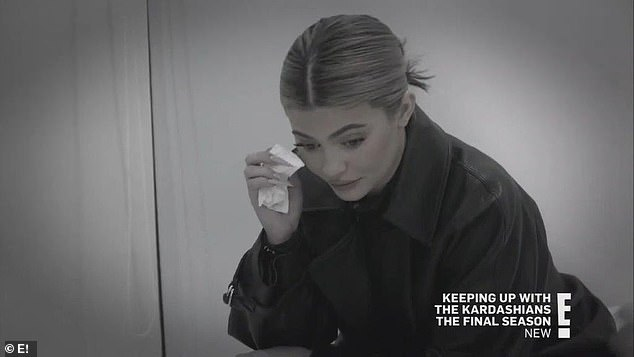 Tears flowing:'I think he deserves someone that can go support his every move', Kim said as Kylie wiped away tears