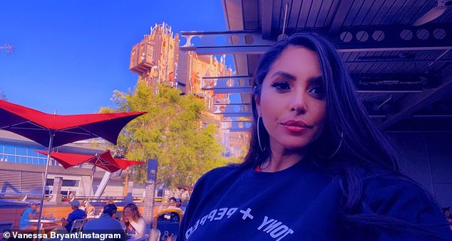 Mask-free for her meal: Bryant shared a selfie in front of the Guardians of the Galaxy – Mission: BREAKOUT! ride, which took over The Twilight Zone-themed Tower of Terror back in 2017