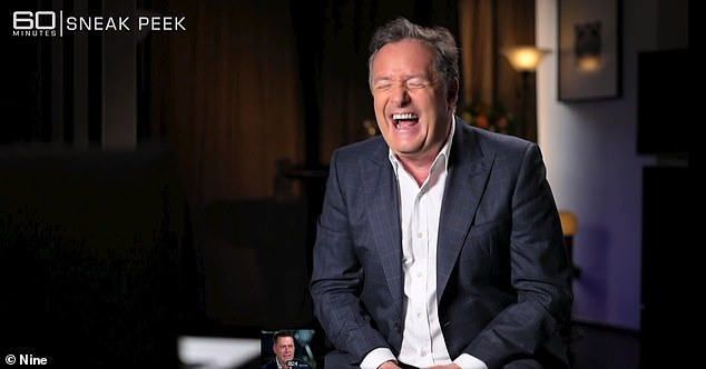 In Sunday night's TV confrontation, Stefanovic continues the feud and brands Morgan 'just an angry old man' - sparking laughter from the media veteran (above)