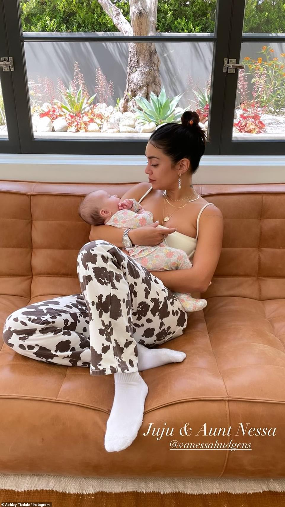 First meeting: Vanessa also recently got to meet her High School Musical costar Ashley Tisdale's newborn daughter Jupiter late last month