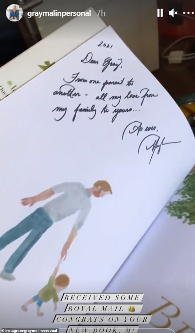 Meghan Markle , 39, has sent a copy of her children's book The Bench to a Hollywood friend with a personal note ahead of it's release next week