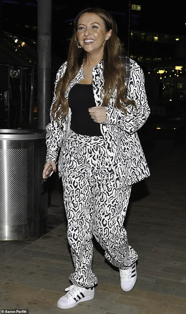 Edgy:The Celebs Go Dating star slipped into a black and white animal print jacket and matching trousers for drinks at the Dockyard Pub in Manchester