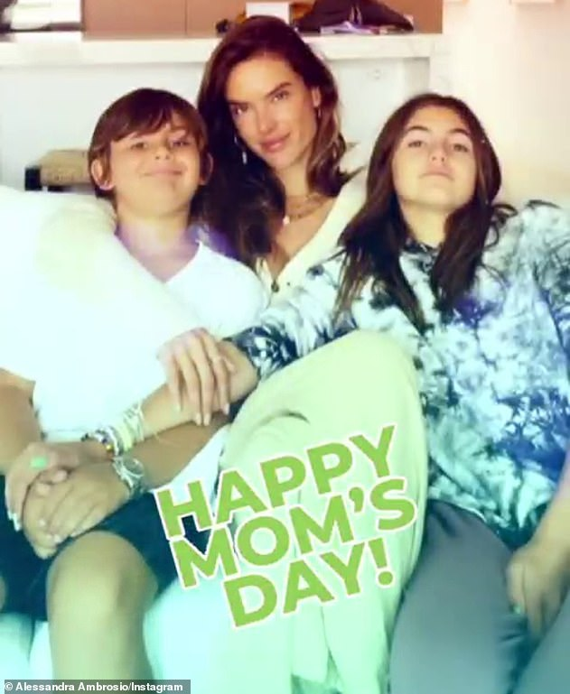 Mother-of-two: Alessandra shares eight-year-old son Noah Phoenix and 12-year-old daughter Anja Louise with Re/Done denim co-founder Jamie Mazur, whom she split from in 2018 (pictured in June )