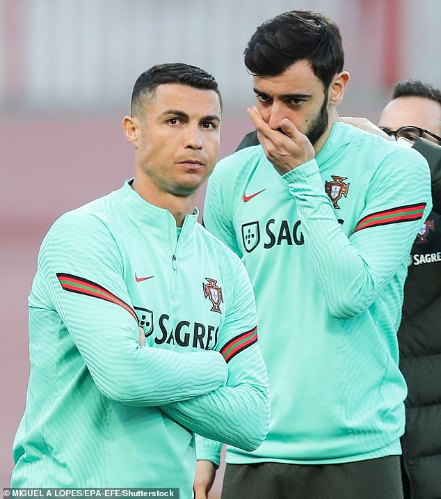 Bruno Fernandes (right) revealed Cristiano Ronaldo (left) was his favourite player growing up