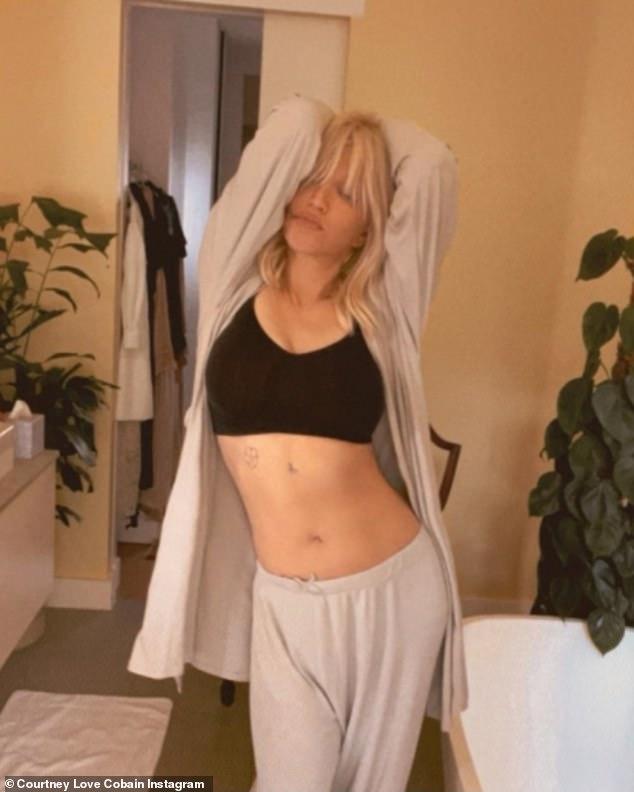 Courtney Love models SKIMS! Hole rocker, 54, shows off taut tum as she reveals pal Kim Kardashian sent a box of freebies ahead of hospital stay
