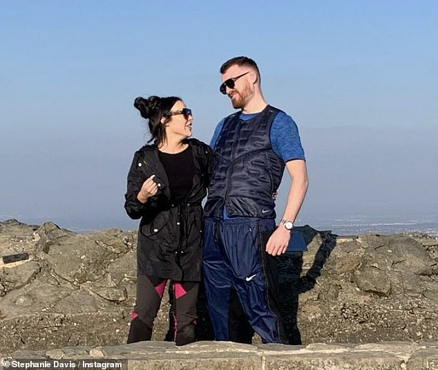 On top of the world: The Hollyoaks actress included a trio of snaps showing them cosied up together in various locations