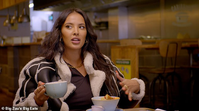Mum's the word:Maya Jama has revealed that she plans on improving her skills in the kitchen once she becomes a mum as she opened up on her love of food on Big Zuu's Big Eats