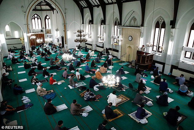 The Didsbury Mosque was a church before it was purchased in 1967 by Syrian Arabs (pictured, worshipers celebrating Eid earlier this year)
