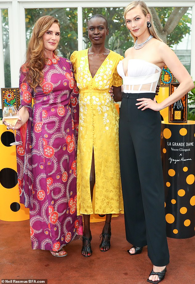 Trio:Whilst at the event she could be seen mingling with Suddenly Susan star Brooke Shields and Queen And Slim actress Jodie Turner-Smith