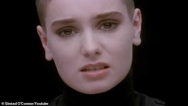Star: Sinead released her cover of Nothing Compares 2 U in 1991 and it shot to the top of the charts, earning her a Grammy nomination. She is pictured in the music video