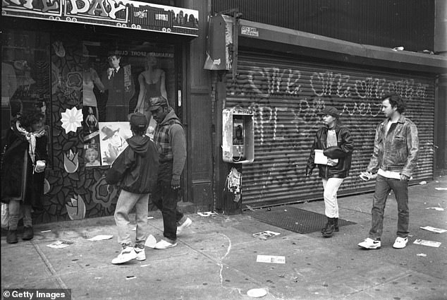 1980S:Lower East Side of Manhattan in May 1987 when the Big Apple was known as 'Fear City' due to its crime epidemic