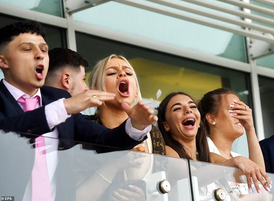 Very animated revellers were seen reacting during the Oaks day of the Derby Festival as they watched they took to the enclosures