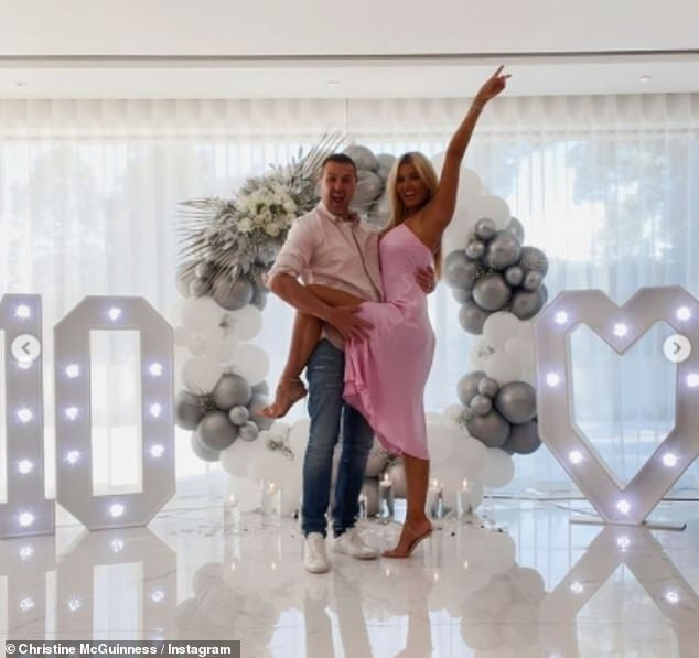 Cute:The couple, aged 47 and 33 respectively, met 14 years ago and tied the knot on 4 June 2011, they have three children together - twins Penelope and Leo, seven, and Felicity, five