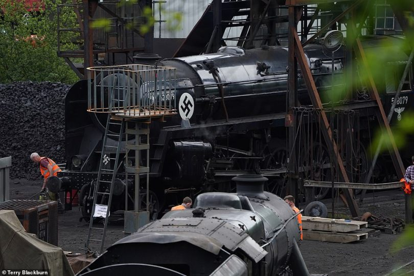 First look:A stretch of the North Yorkshire Moors railway has been transformed into the set of Indiana Jones 5, ahead of filming which is slated to begin next week