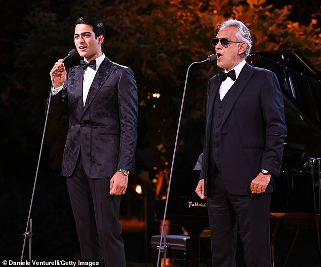 The Bocellis: Andrea Bocelli was joined by his son Matteo on stage to perform for guests at the Bvlgari dinner in Milan on Friday evening