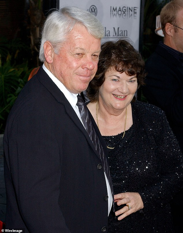 So sad: John died suddenly on board a Qantaslink flight from Sydney to Coffs Harbour in March. In late March, Russell announced the sad news of his father's death in a series of Twitter posts. John and wife Jocelyn are pictured in 2005
