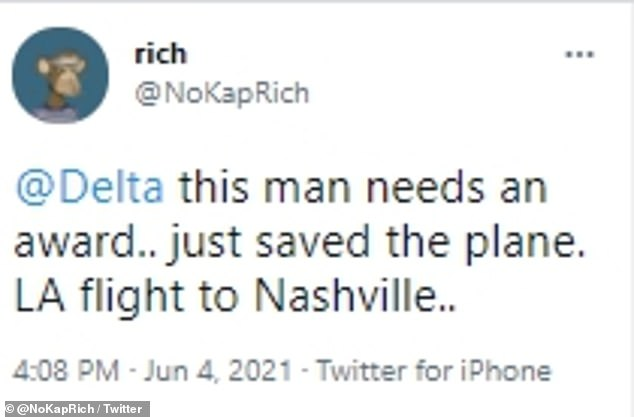 People have since praised the flight attendant for his heroism and quick thinking
