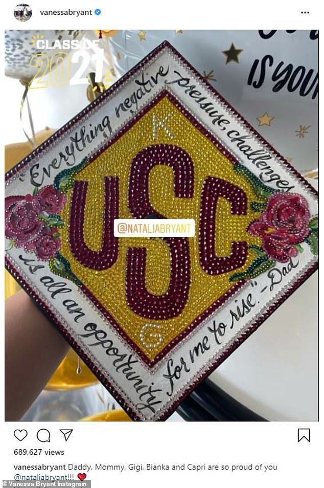 Tribute: 'Everything negative—pressure, challenges—is an opportunity for me to rise.' – Dad,' Natalia had written around a University Of Southern California emblem