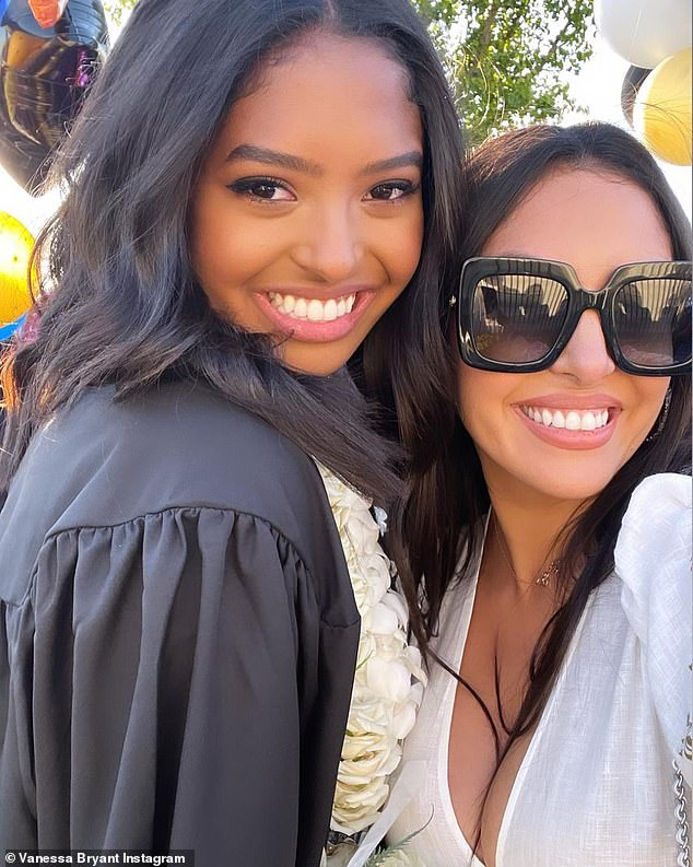 Proud: Mother and daughter snuggled up for a selfie photo at the ceremony