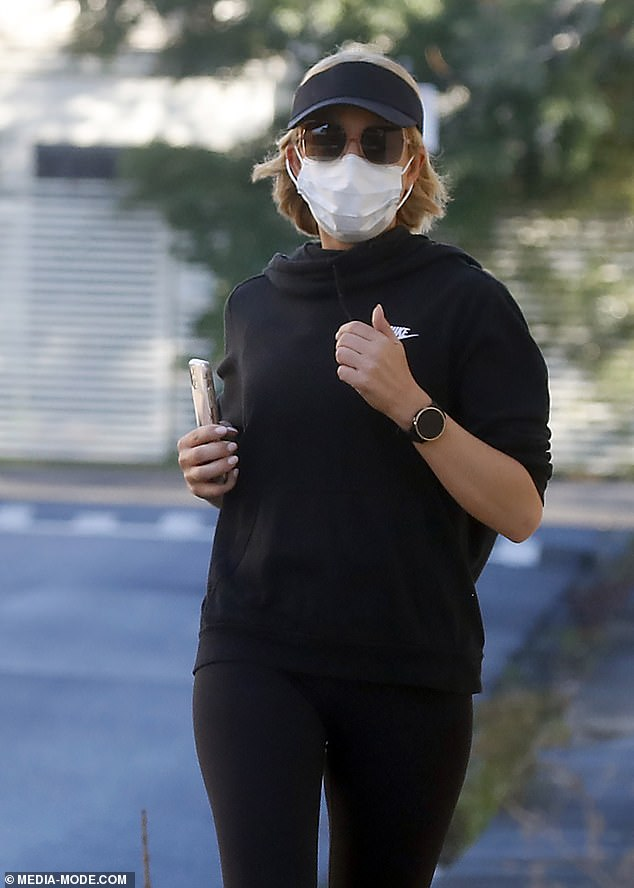 COVID safe: As Carrie stepped out, the Melbourne resident also ensured she kept COVID safe by wearing a face mask