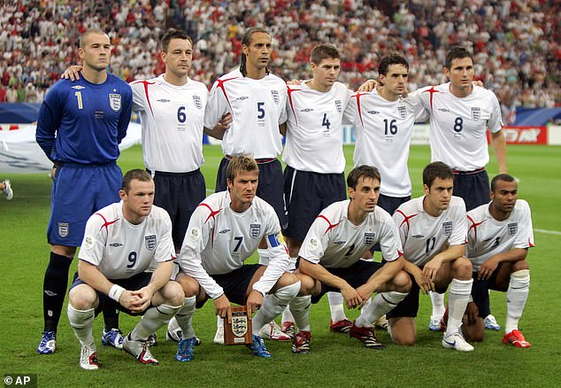 The group on board the plane were dubbed England's 'golden generation', including stars such as Wayne Rooney (bottom left), Frank Lampard (top right) and Steven Gerrard (top middle)