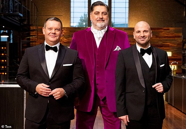 Out: George was also eliminated alongside veteran MasterChef Co-Judges Gary Mehigan and Matt Preston amid controversy and a salary dispute.  Pictured with Gary Mehigan (left) and Matt Preston (center)
