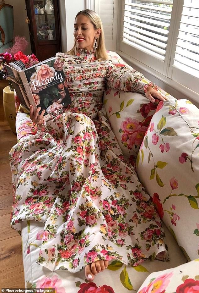 Old world charm: Phoebe used her parents' elegant home as a backdrop for her glamorous Instagram photo shoots
