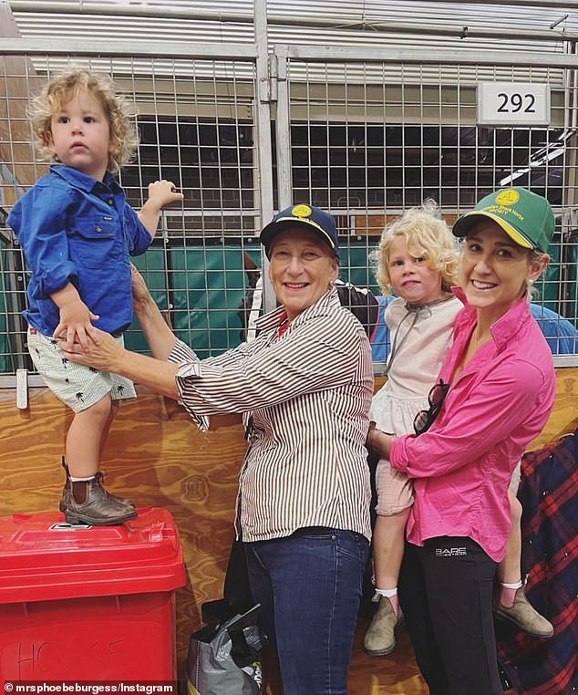 Family: Phoebe's mother Sarah said earlier this year, that despite the awful circumstances, she has relished watching her grandchildren grow up at her home. Sarah and Phoebe's sister Harriet are pictured with Phoebe's children
