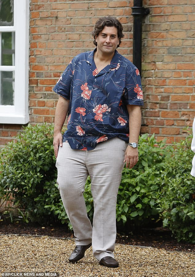 Progress: James 'Arg' Argent showed of his four stone weight loss on Friday as he attended the filming of Tommy Mallet and Georgia Kousoulou's TV show at Hutton Hall in Brentwood, Essex