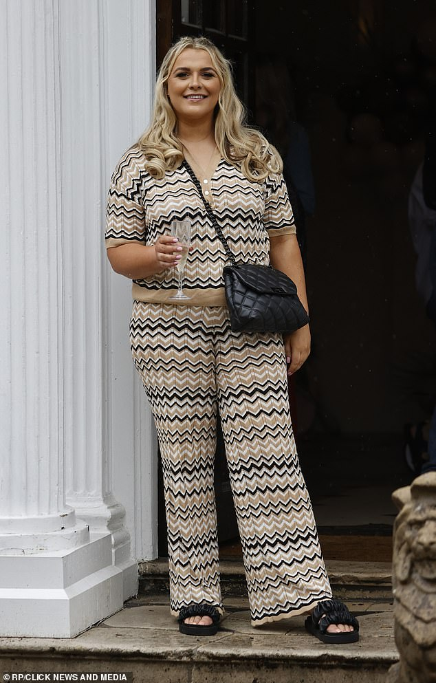 Guest: TOWIE star Saffron Lempriere sported a zig zag print two-piece while sipping on a glass of bubbly